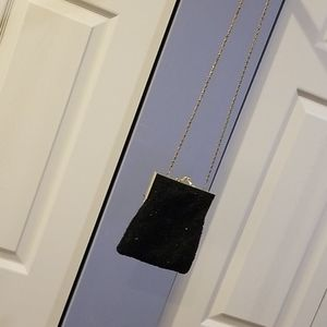 Black sequin evening bag